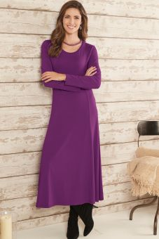 Essential Round Neck Dress – Purple