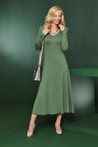 Essential V Neck Dress - Olive
