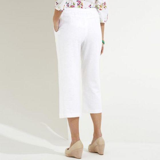 Linen Cotton Mix Cropped Trousers Short
