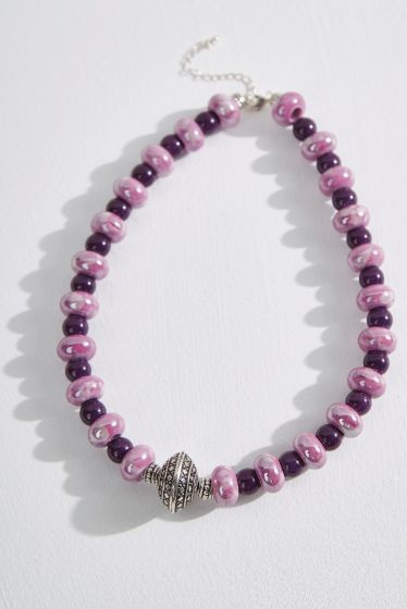 Purple Porcelain Necklace